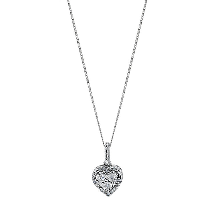 Sterling silver diamond cluster heart pendant - Product number 9207252