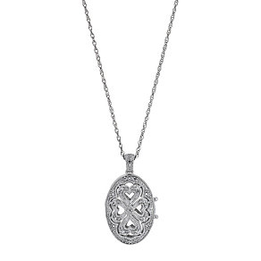 Sterling Silver Diamond Oval Locket - Product number 9207260
