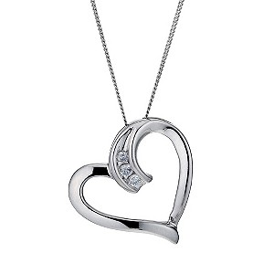 9ct White Gold Diamond Set Heart Pendant - Product number 9207295