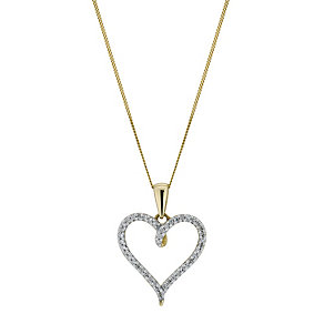 9ct Yellow Gold Diamond Heart Pendant - Product number 9207406