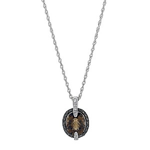 Silver Smoked Quartz Black & White Diamond Pendant - Product number 9207627