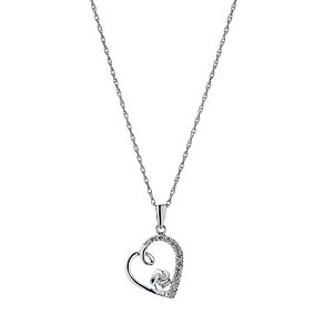 Sterling Silver Diamond Heart & Flower Pendant - Product number 9207686
