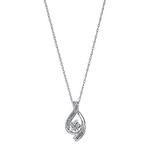 H Samuel Sterling Silver Diamond Twist Pendant