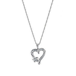 Sterling Silver Diamond Set Heart & Flower Pendant - Product number 9207724