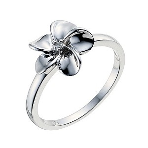 Sterling Silver Diamond Flower Ring - Product number 9208011