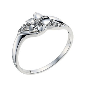 Sterling Silver Diamond Twisted Shoulder Ring - Product number 9208143
