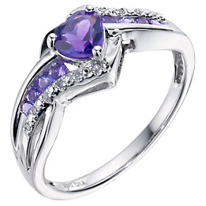Candy Hearts Silver Diamond & Amethyst Ring - Product number 9208275