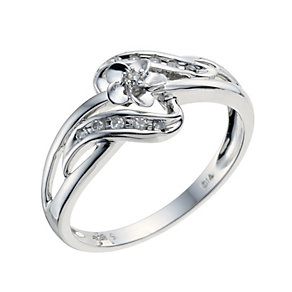 Sterling Silver Diamond Twist Shoulder Flower Ring - Product number 9208550