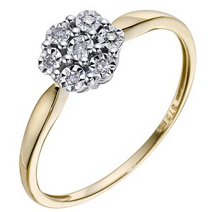 9ct Yellow Gold & Diamond Cluster Ring - Product number 9208860