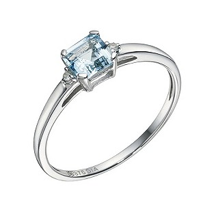 9ct White Gold Blue Topaz & Diamond Ring - Product number 9209131
