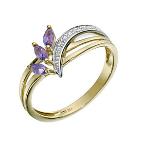 9ct Yellow Gold Amethyst & Diamond Ring - Product number 9210075