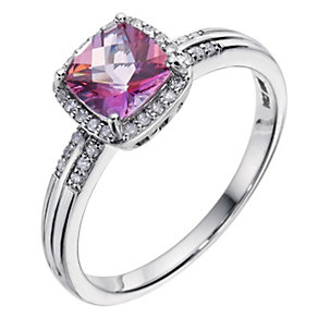 Silver Pink Topaz & Diamond Ring - Product number 9210601