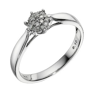 9ct White Gold Diamond Cluster Ring - Product number 9211276