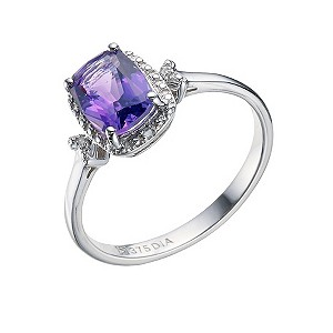 9ct White Gold Amethyst & Diamond Ring - Product number 9211403