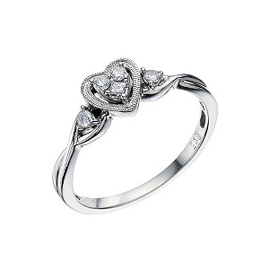 Silver & Diamond Heart Fashion Ring - Product number 9211535