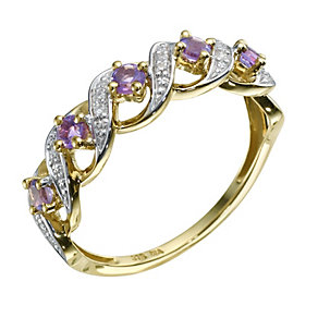 9ct Yellow Gold Amethyst & Diamond Twist Ring - Product number 9211799