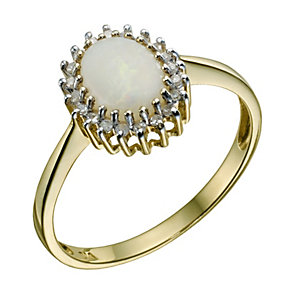 9ct Yellow Gold Large Opal & Diamond Ring - Product number 9212140