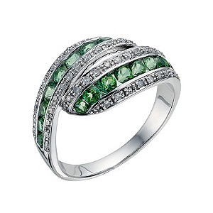 Silver Green Swarovski Topaz & Diamond Wrap Ring - Product number 9212418