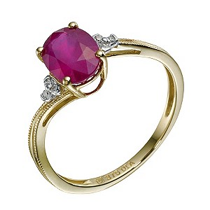 9ct Yellow Gold Ruby & Diamond Ring - Product number 9212531
