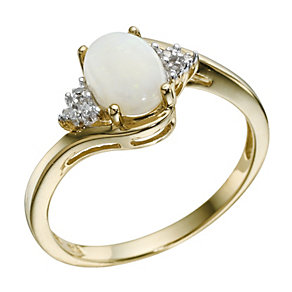 9ct Yellow Gold Opal & Diamond Ring - Product number 9212809