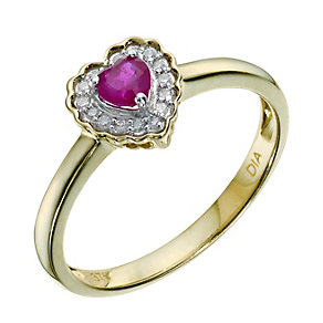 9ct Yellow Gold Treated Ruby & Diamond Heart Ring - Product number 9212930