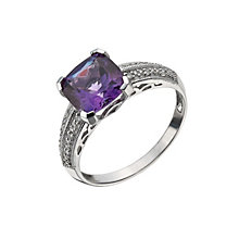 9ct White Gold Amethyst & 0.06 Carat Diamond Square Ring - Product number 9214216