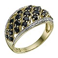 9ct Yellow Gold Sapphire & Diamond Wave Ring - Product number 9214739
