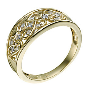9ct Yellow Gold Diamond Filigree Ring - Product number 9215107
