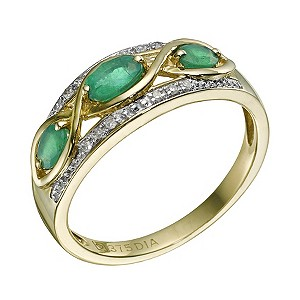 9ct Yellow Gold 3 Emerald Stone & Diamond Ring - Product number 9215239