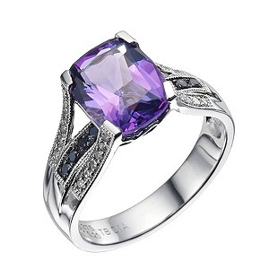 Sterling Silver Amethyst Black & White Diamond Ring - Product number 9215506