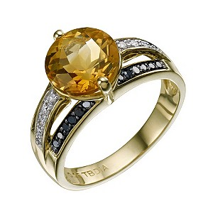 Sterling Silver Citrine Black & White Diamond Ring - Product number 9215891