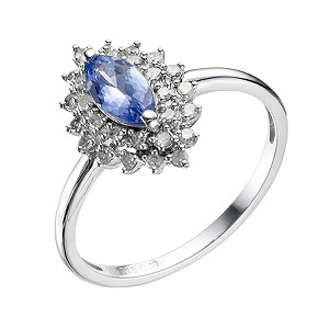 9ct White Gold Tanzanite &  0.10 Carat Diamond Ring - Product number 9216693
