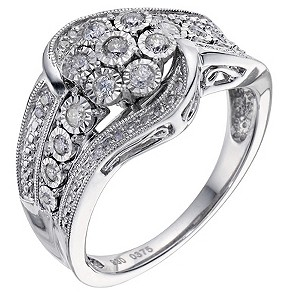 Silver & Diamond Cluster Ring - Product number 9217096
