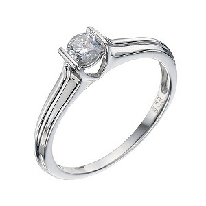 Silver & Diamond Solitaire Ring - Product number 9217355