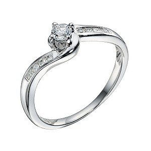 9ct White Gold 1/4 Carat Diamond Ring - Product number 9217622