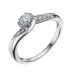9ct White Gold 0.33 Carat Diamond Solitaire Ring - Product number 9219110
