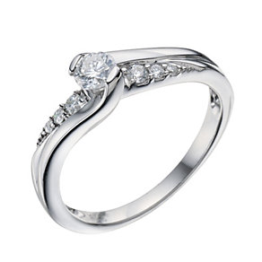 9ct White Gold 0.33 Carat Diamond Twist Solitaire Ring - Product number 9219250