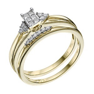 14ct Yellow Gold 0.20 Carat Diamond Bridal Ring Set - Product number 9219676