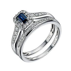 9ct White Gold 0.33 Carat Diamond & Sapphire Bridal Ring Set - Product number 9220089