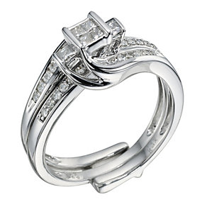9ct White Gold 0.40 Carat Diamond Bridal Set Ring - Product number 9220461