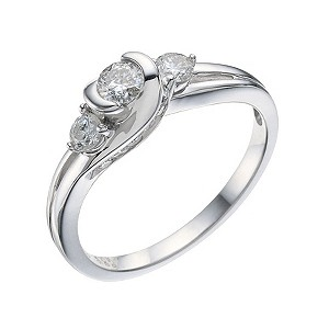 H Samuel 9ct White Gold 0.50 Carat Diamond Trilogy Ring product image