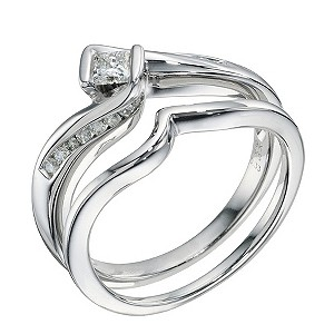9ct White Gold 0.40 Carat Diamond Twist Bridal Set Ring - Product number 9220879
