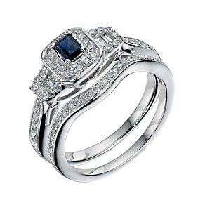 9ct White Gold 0.50 Carat Diamond & Sapphire Bridal Set Ring - Product number 9222057
