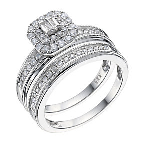9ct White Gold 0.50 Carat Diamond Bridal Ring Set - Product number 9222324