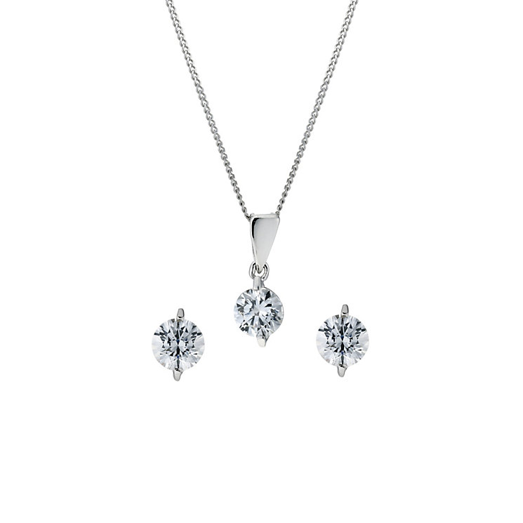 9ct white gold with Swarovski Zirconia pendant & earring set - Product number 9225196