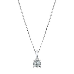 Sterling Silver 0.17 Carat Diamond Solitaire Pendant - Product number 9225676