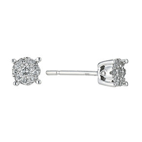 Sterling Silver 0.17 Carat Diamond Solitaire Earrings - Product number 9225684