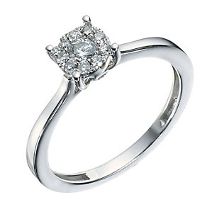 Sterling Silver 0.25 Carat Diamond Cluster Ring - Product number 9225692