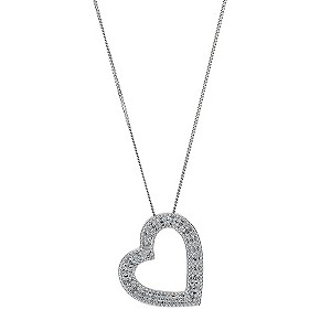 9ct white gold diamond heart pendant - Product number 9225927