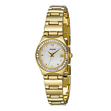 Accurist Ladies' Gold Plated Stone Set Bracelet Watch - Product number 9230734